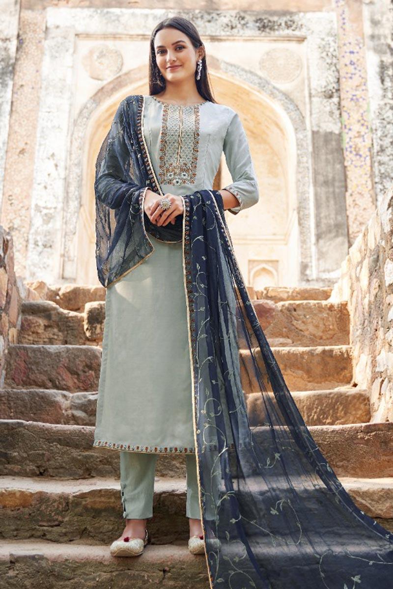 Trendy Fancy Fabric Embroidered Festive Wear Straight Cut Dress In Cyan