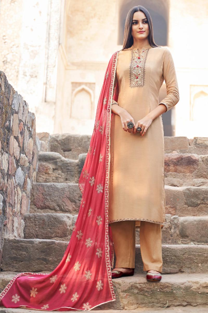 Peach Trendy Festive Wear Fancy Fabric Embroidered Straight Cut Suit