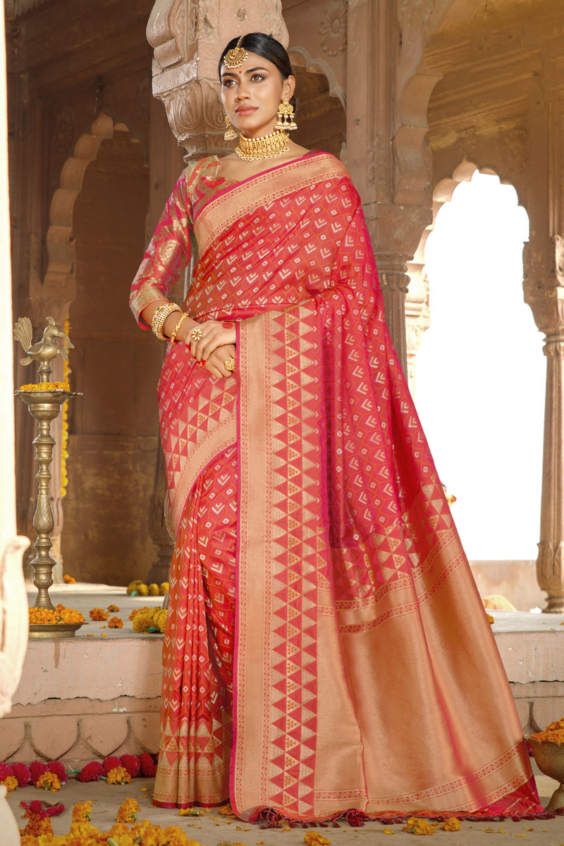 Fancy Art Silk Fabric Pink Color Reception Wear Saree With Weaving Work