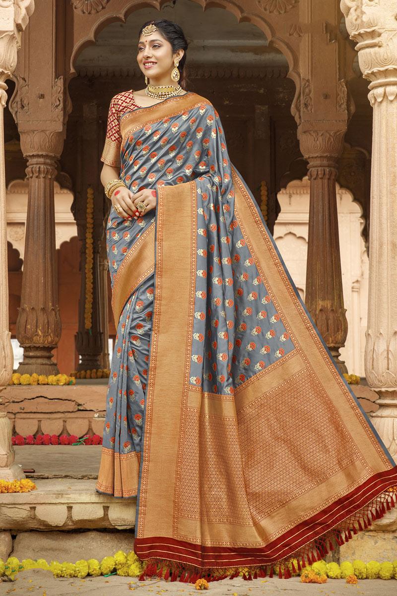 Weaving Work On Designer Saree In Grey Color Art Silk Fabric
