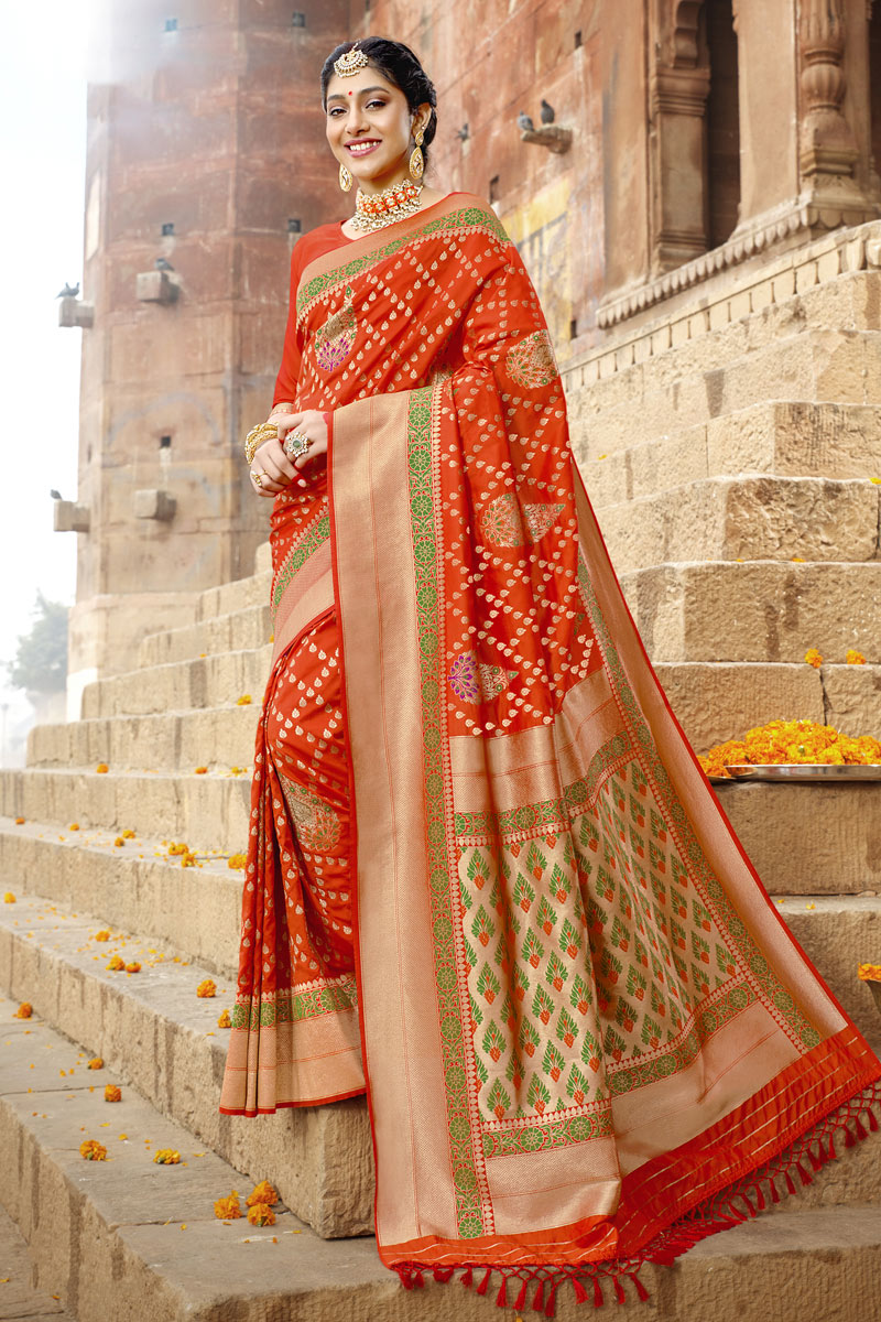 Weaving Work Designs On Art Silk Fabric Function Wear Saree In Orange Color