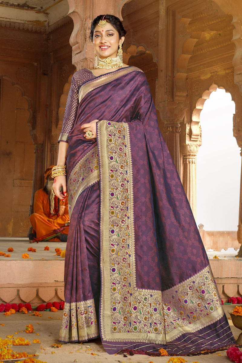 Art Silk Fabric Designer Party Wear Saree In Violet Color With Weaving Work