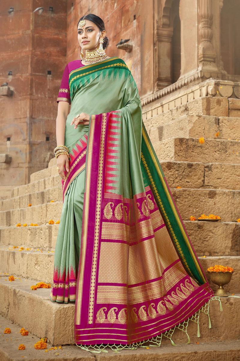 Weaving Work On Sea Green Color Art Silk Fabric Saree For Mehendi Ceremony