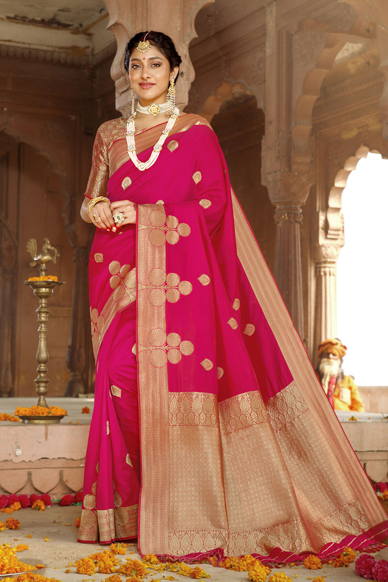 Traditional Art Silk Fabric Saree In Dark Pink Color With Weaving Work For Wedding Function