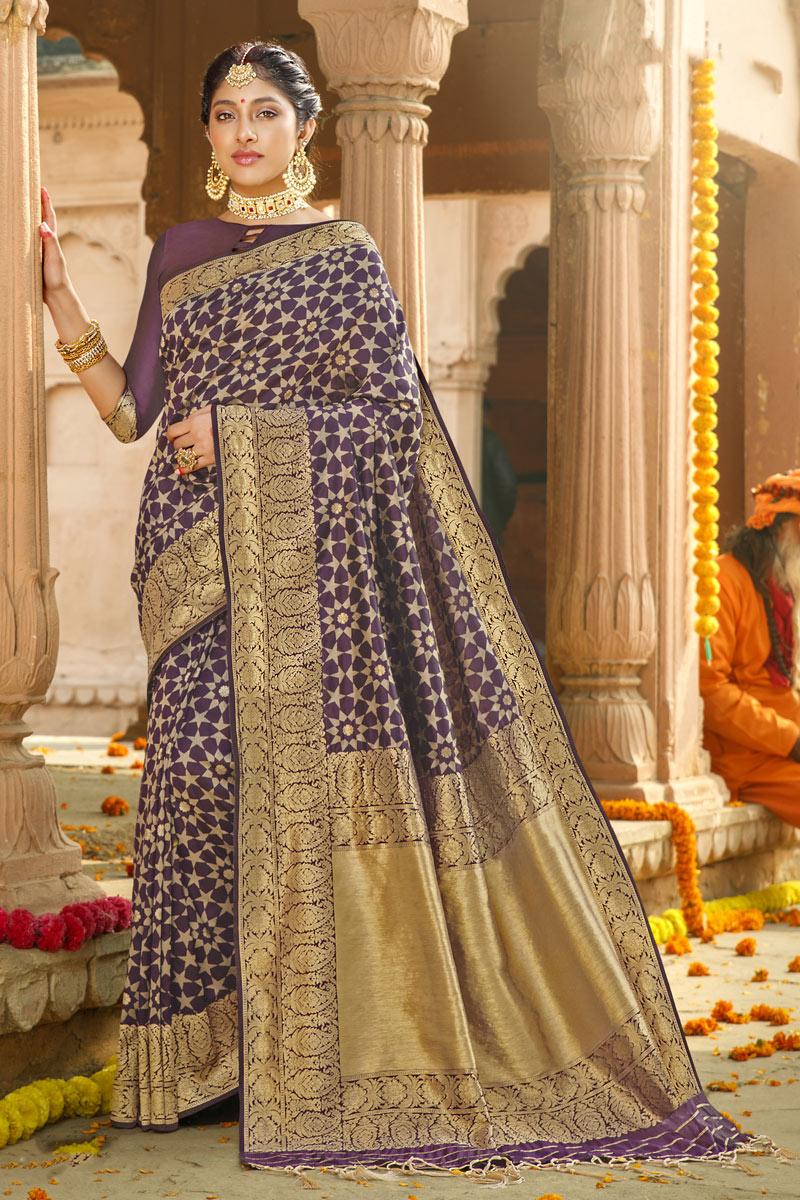 Weaving Work Purple Color Art Silk Fabric Traditional Saree