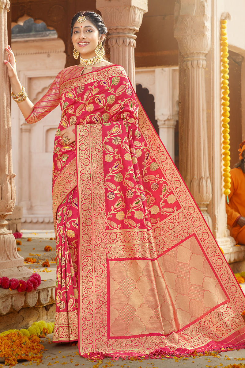 Weaving Work Traditional Pink Color Saree In Art Silk Fabric