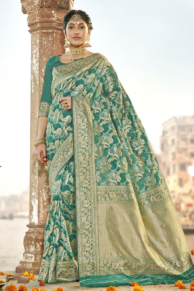 Weaving Work Art Silk Fabric Teal Color Fancy Designer Saree