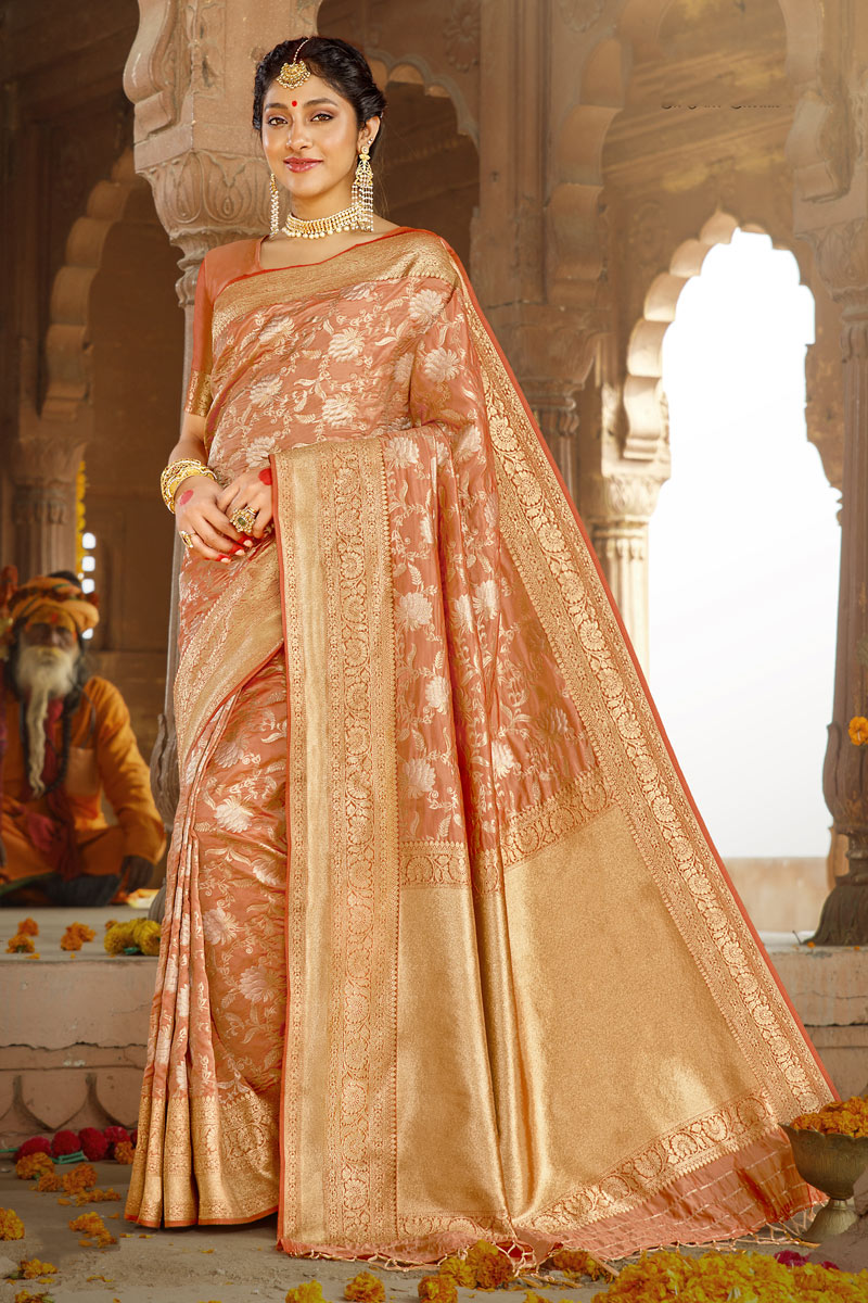 Salmon Color Traditional Saree In Art Silk Fabric With Weaving Work