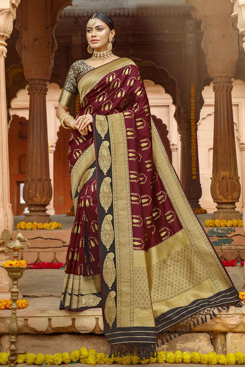 Weaving Work Art Silk Fabric Traditional Designer Saree