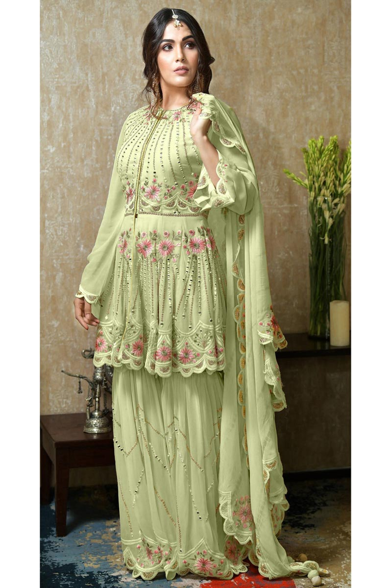 Eid Special Sangeet Wear Sea Green Color Georgette Fabric Pakistani Style Sharara Suit