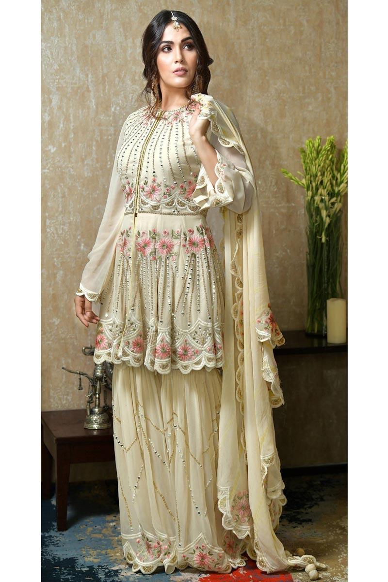 Georgette Fabric Beige Color Sangeet Wear Pakistani Style Sharara Dress