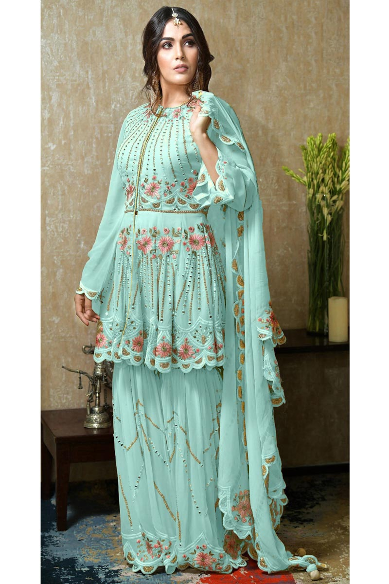 Sangeet Wear Cyan Color Pakistani Style Sharara Suit In Georgette Fabric
