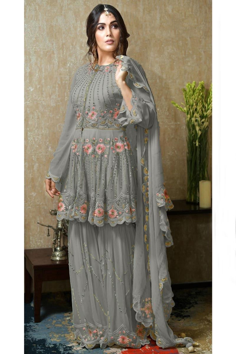 Eid Special Georgette Fabric Sangeet Wear Grey Color Pakistani Style Sharara Dress