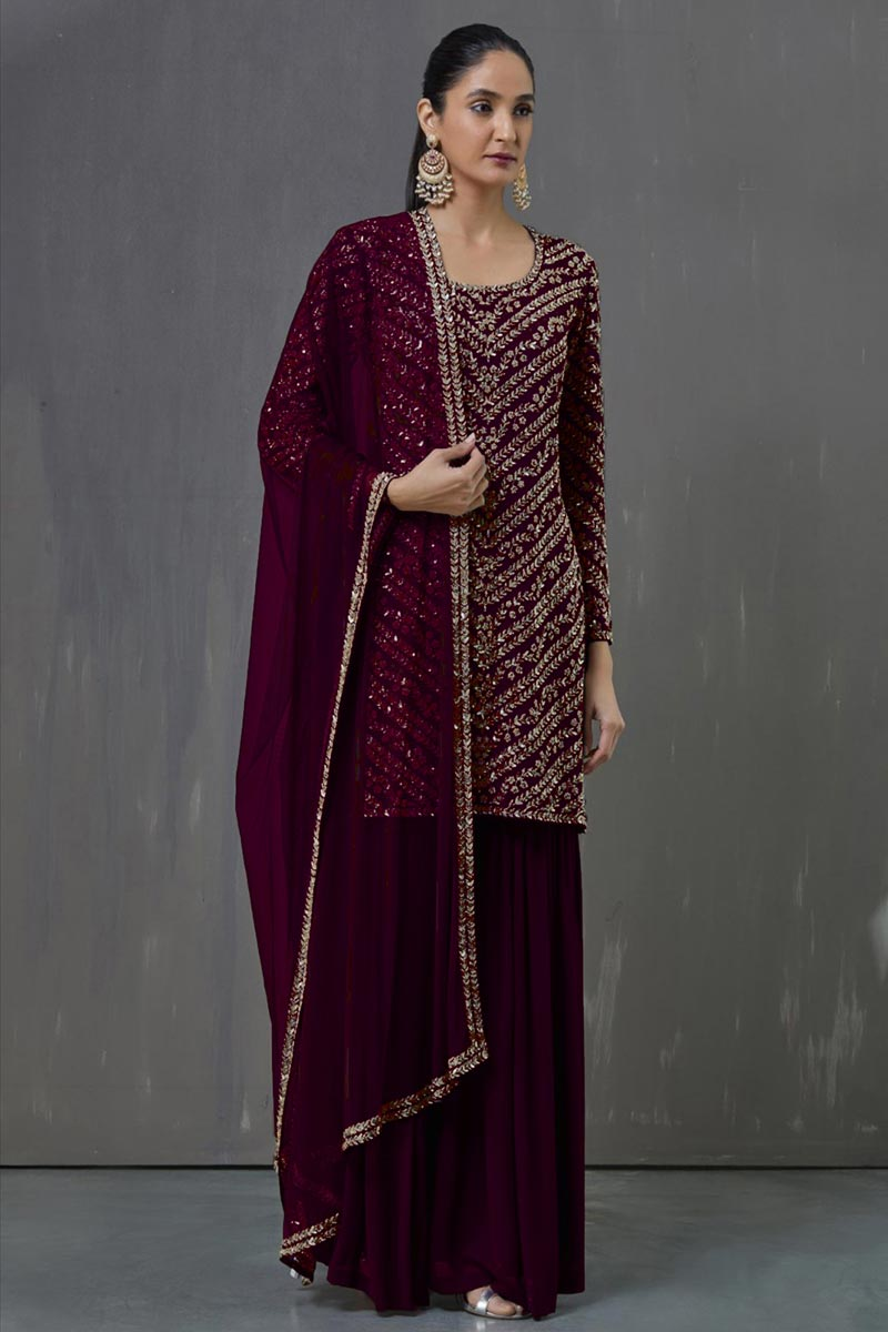 Party Wear Wine Color Georgette Fabric Pakistani Style Palazzo Suit