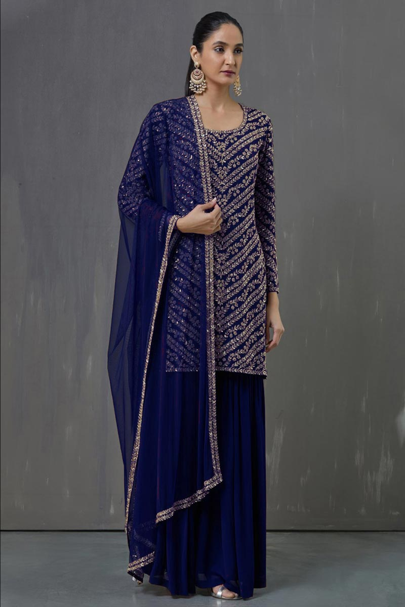 Georgette Fabric Blue Color Party Wear Pakistani Style Palazzo Dress