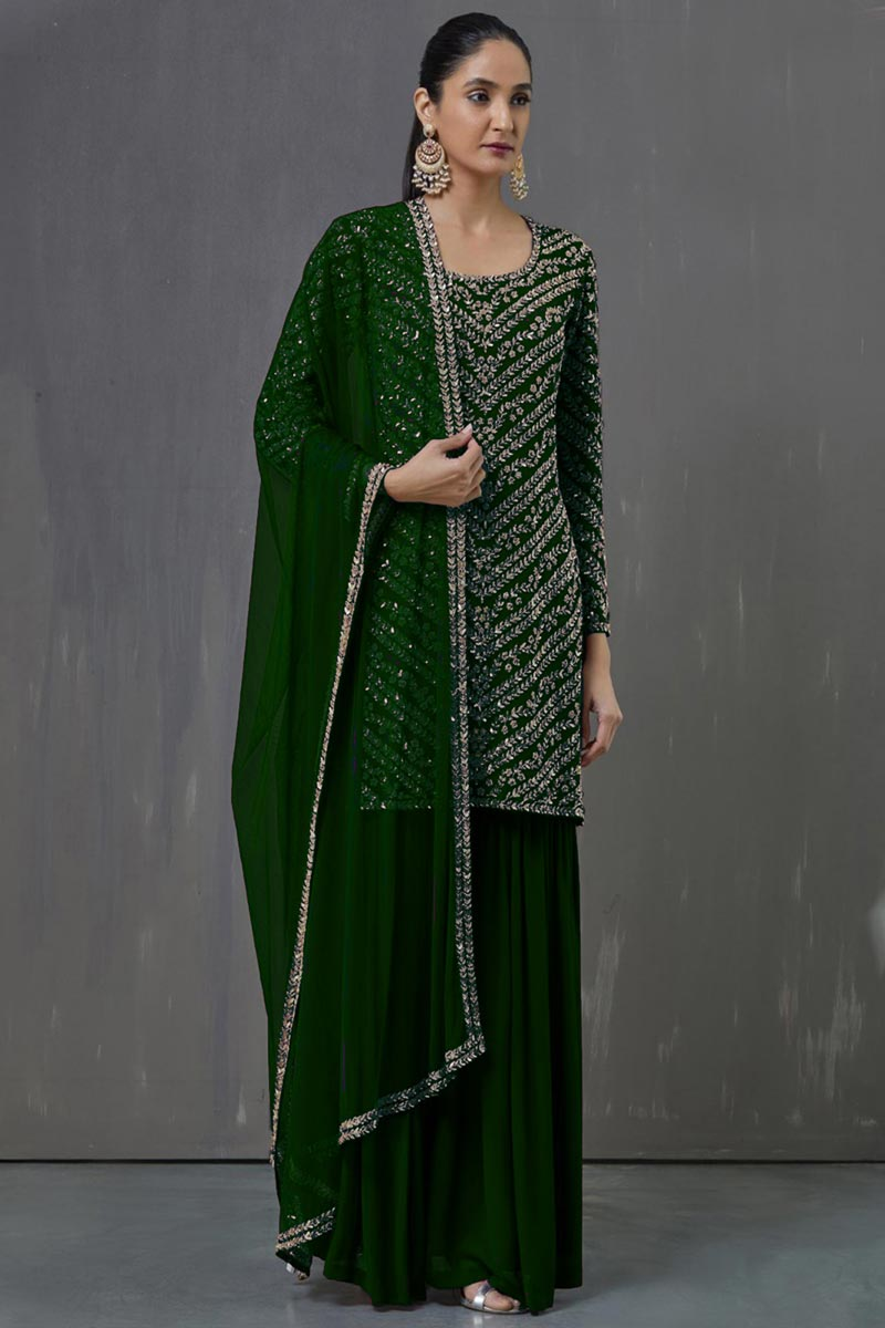 Party Wear Green Color Pakistani Style Palazzo Suit In Georgette Fabric
