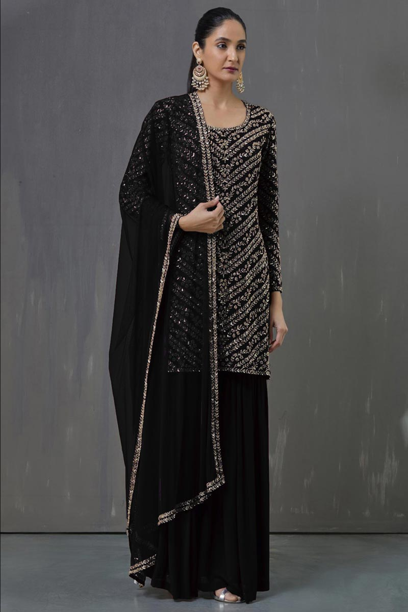 Georgette Fabric Party Wear Pakistani Style Palazzo Dress In Black Color