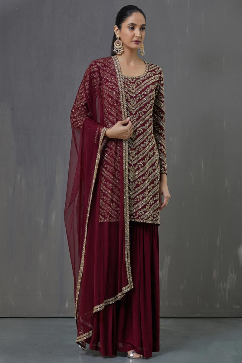 Georgette Fabric Party Wear Maroon Color Pakistani Style Palazzo Dress