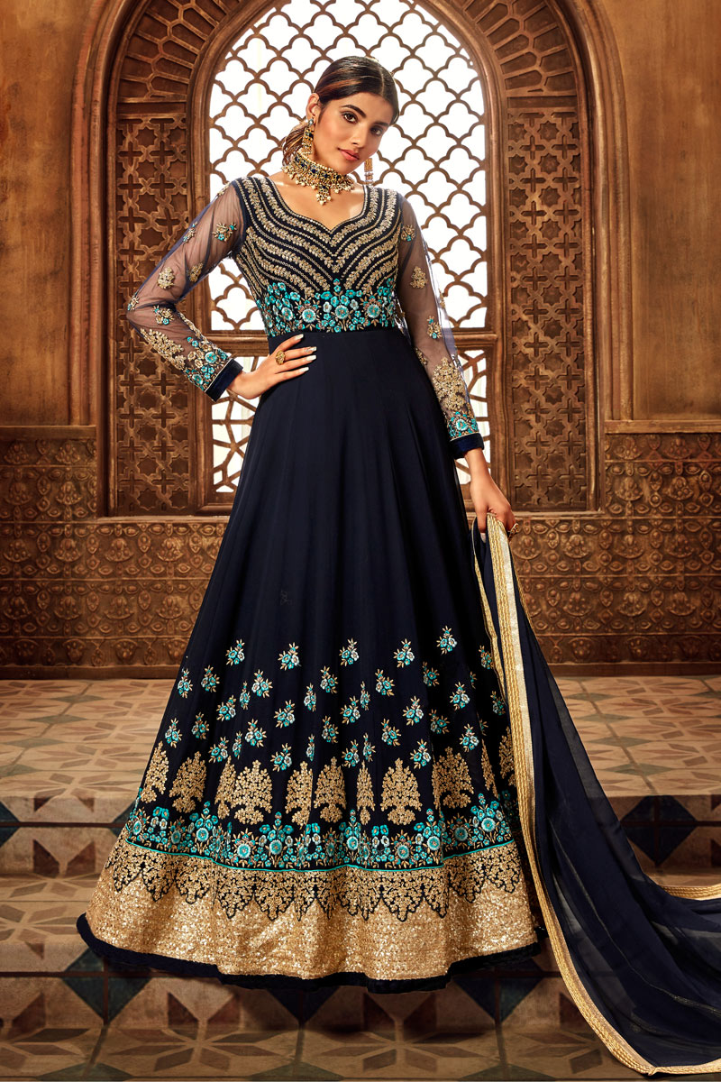 Eid Special Georgette Embroidered Navy Blue Color Party Wear Anarkali Salwar Kameez