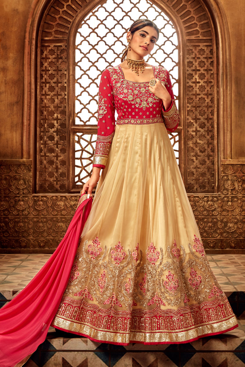 Eid Special Embroidery Designs On Georgette Beige Color Function Wear Anarkali Salwar Suit