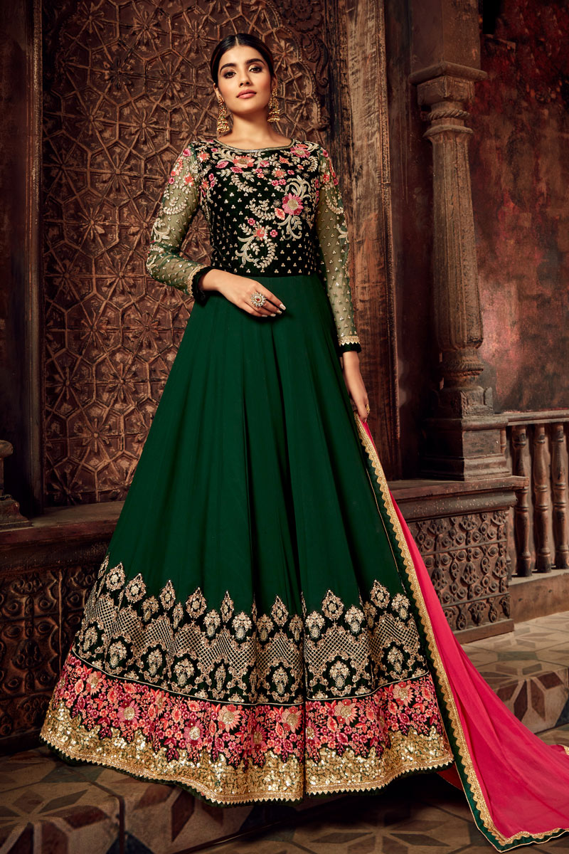 Eid Special Georgette Dark Green Color Function Wear Embroidered Anarkali Suit