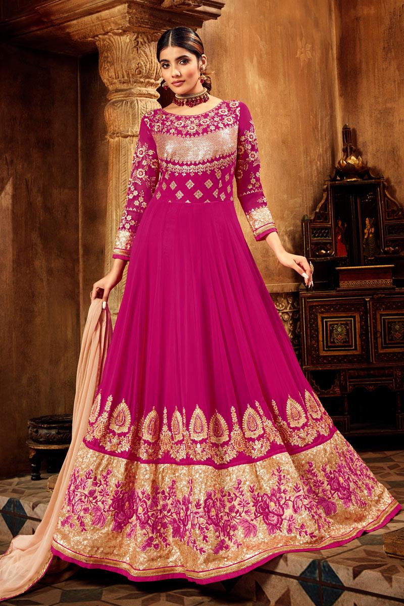 Eid Special Dark Pink Color Georgette Function Wear Anarkali Salwar Kameez With Embroidery Designs