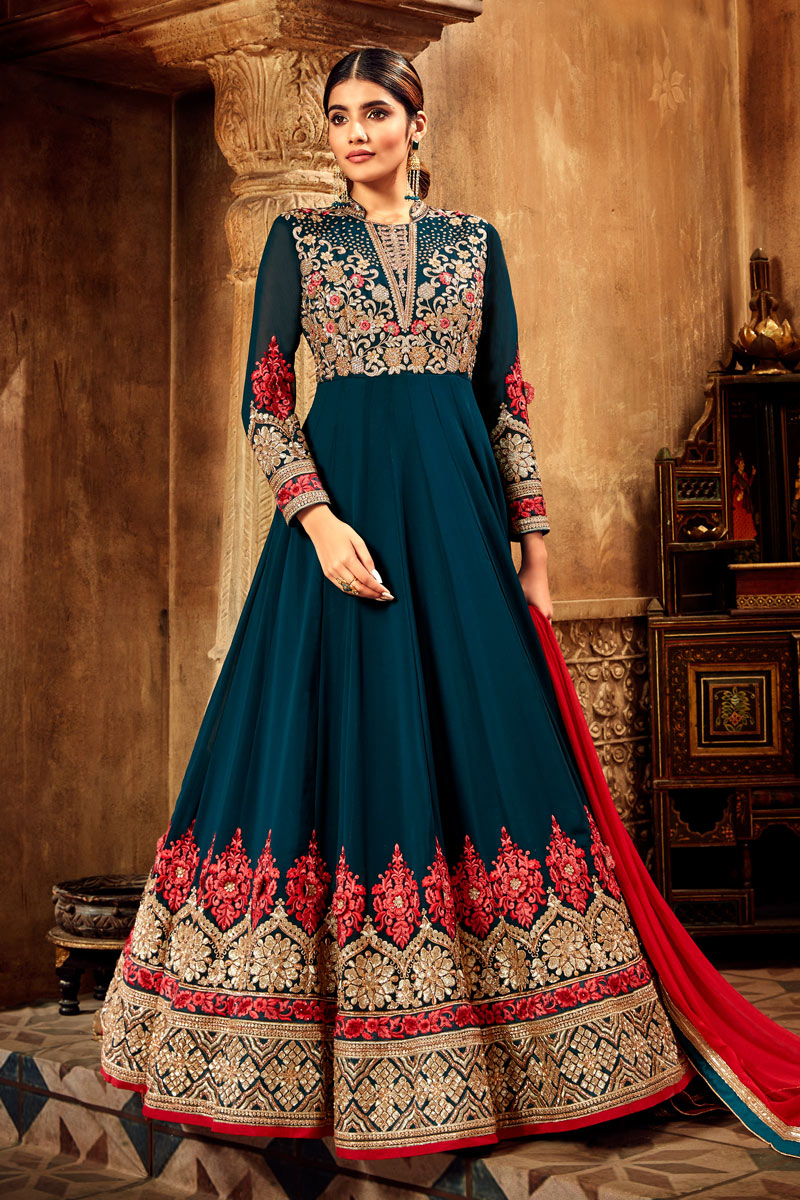 Eid Special Georgette Teal Color Occasion Wear Anarkali Suit With Embroidery Work