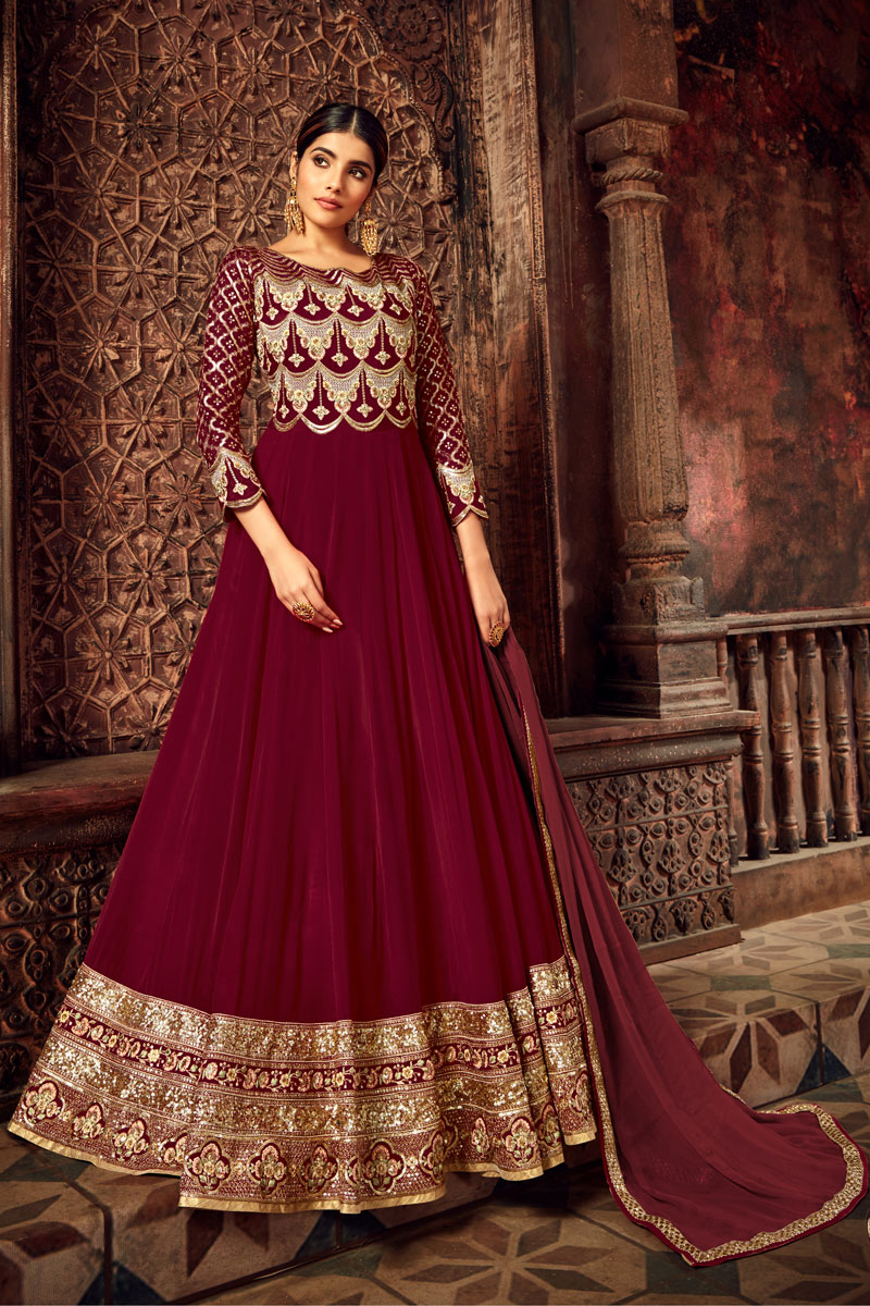 Eid Special Maroon Color Georgette Sangeet Wear Anarkali Suit With Embroidery Work