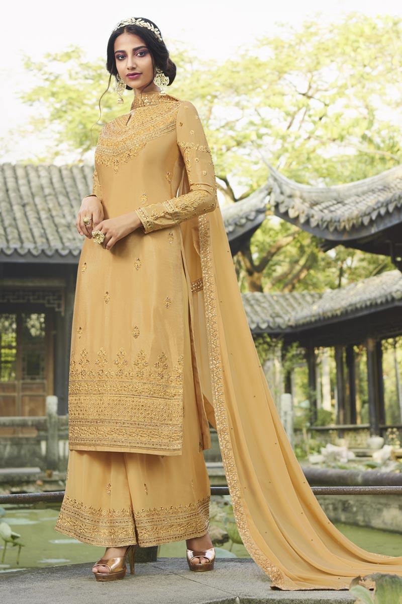 Designer Chinon Fabric Party Style Embroidered Yellow Color Palazzo Suit