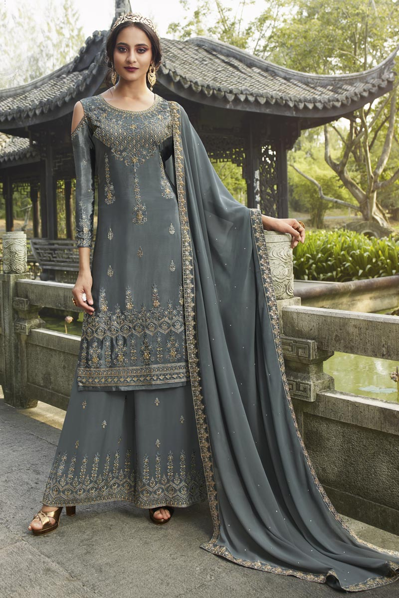 Designer Grey Color Party Style Chinon Fabric Embroidered Palazzo Suit