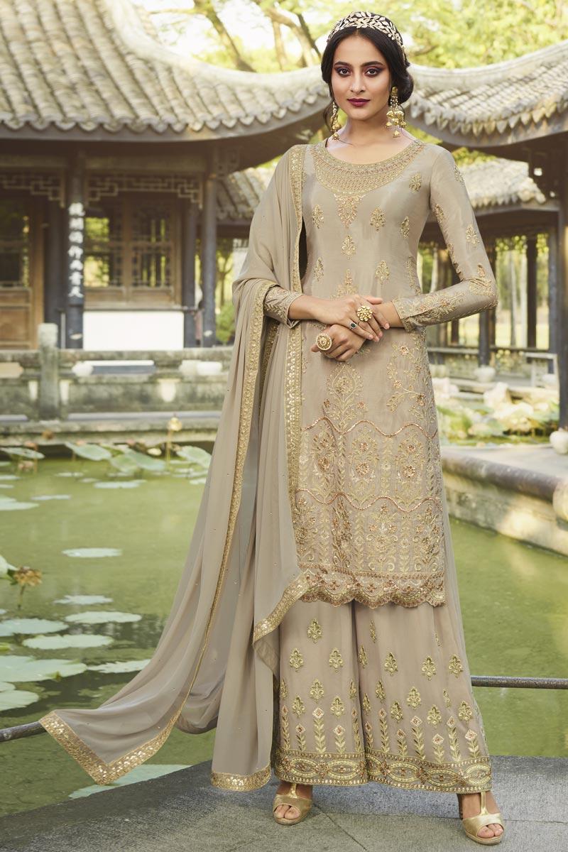 Chinon Fabric Cream Color Party Style Designer Embroidered Palazzo Dress
