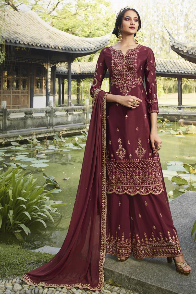 Maroon Color Party Style Designer Embroidered Palazzo Dress In Chinon Fabric