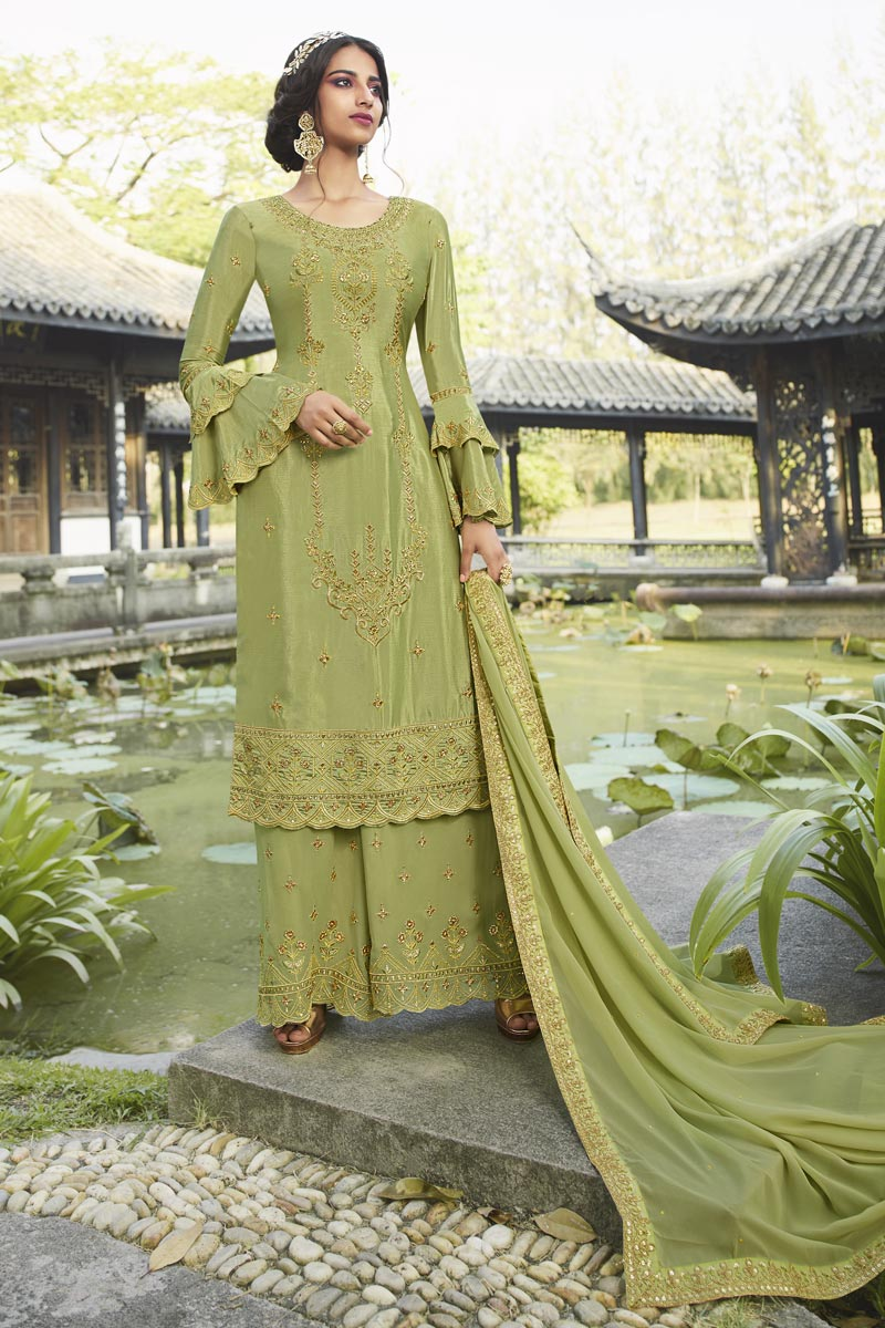 Designer Party Style Sea Green Color Chinon Fabric Embroidered Palazzo Suit