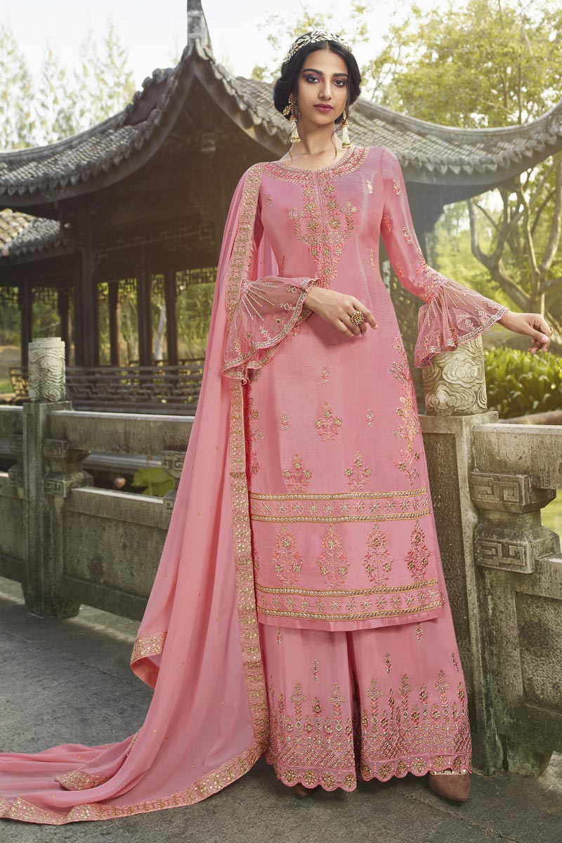Party Style Chinon Fabric Designer Embroidered Palazzo Dress In Pink Color