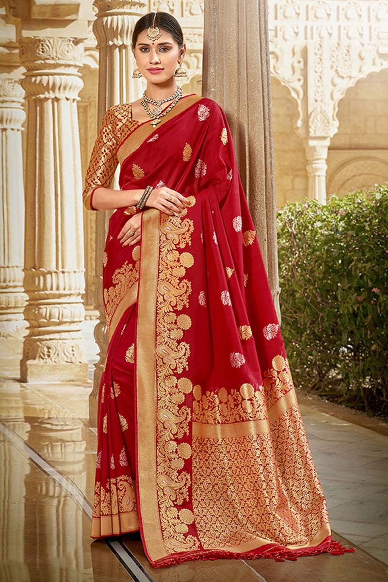 Red Color Fancy Weaving Work Art Silk Fabric Sangeet Wear Saree