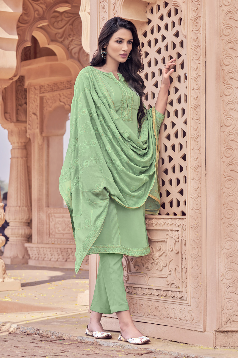 Viscose Fabric Party Wear Salwar Suit In Green Color With Embroidery Work