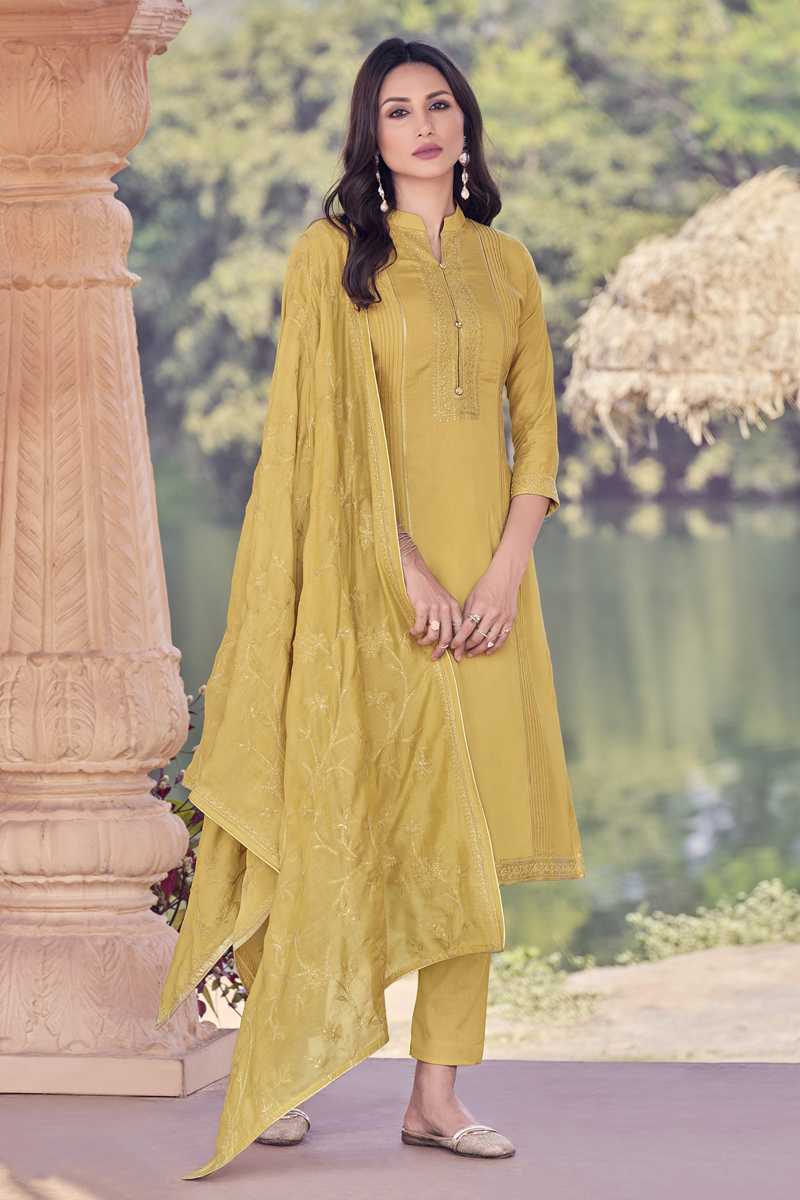 Occasion Wear Mustard Color Embroidered Salwar Kameez In Viscose Fabric
