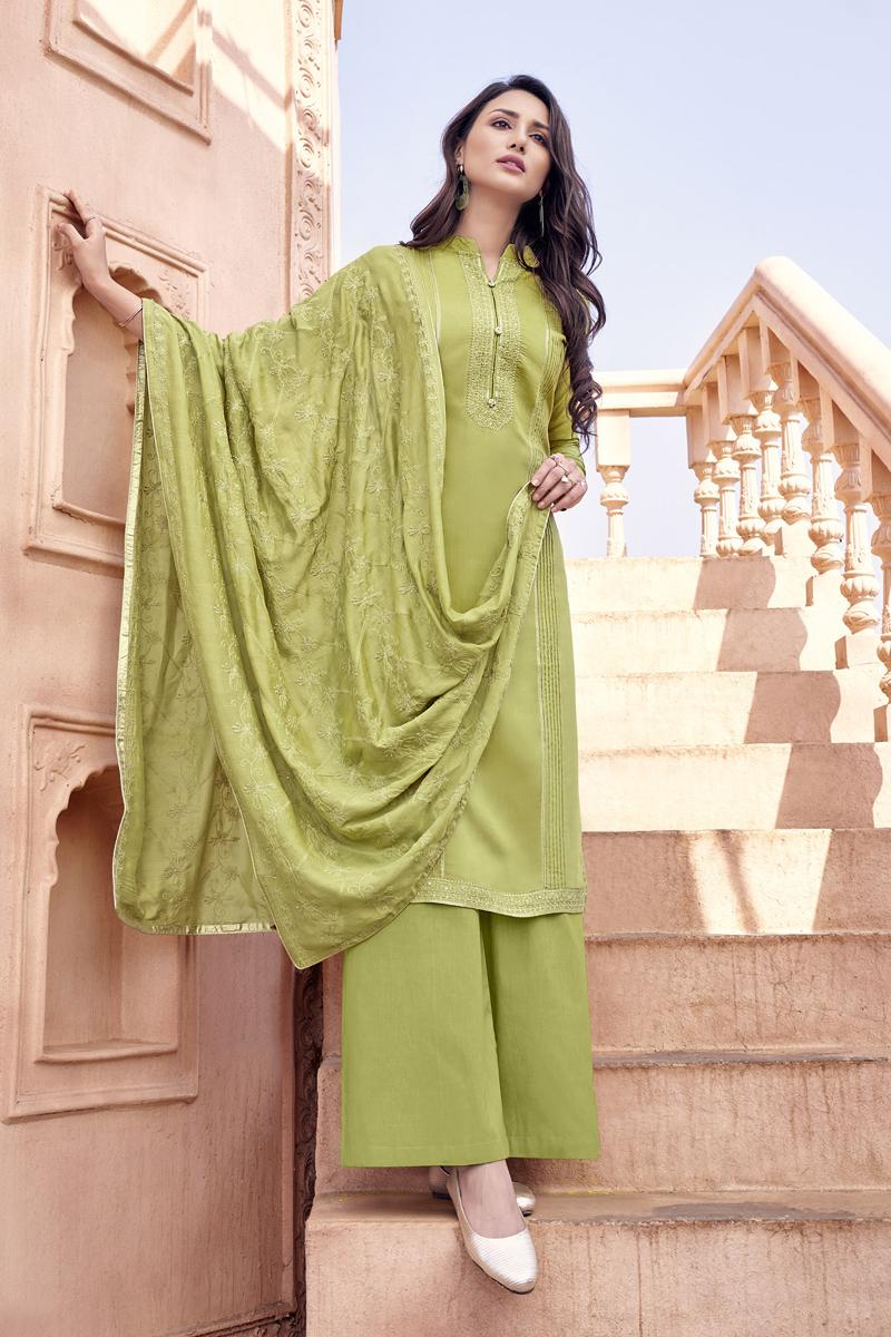 Embroidery Work Khaki Color Viscose Fabric Palazzo Salwar Suit