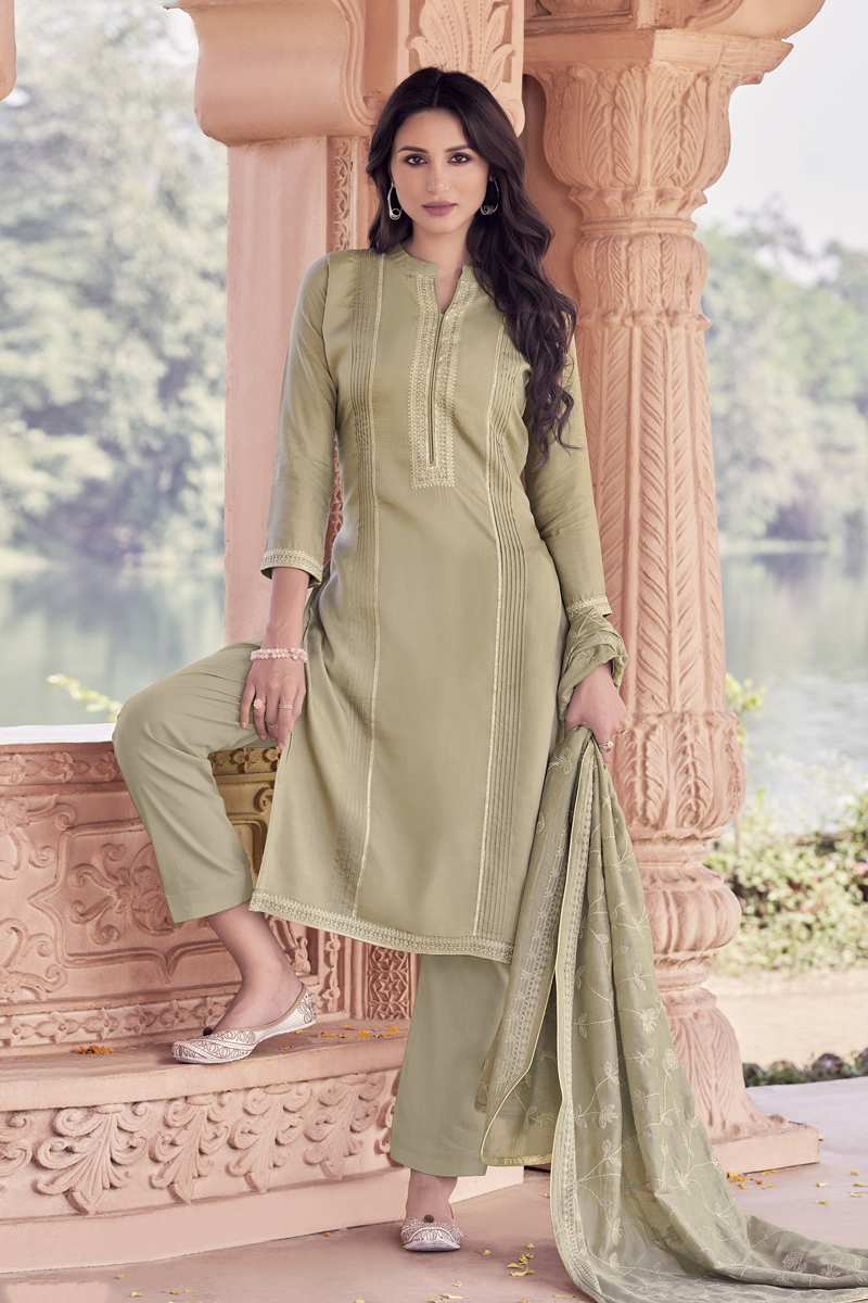 Embroidered Viscose Fabric Cream Color Function Wear Suit