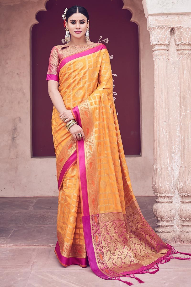 Orange Color Festive Wear Weaving Work Fancy Saree In Cotton Silk Fabric