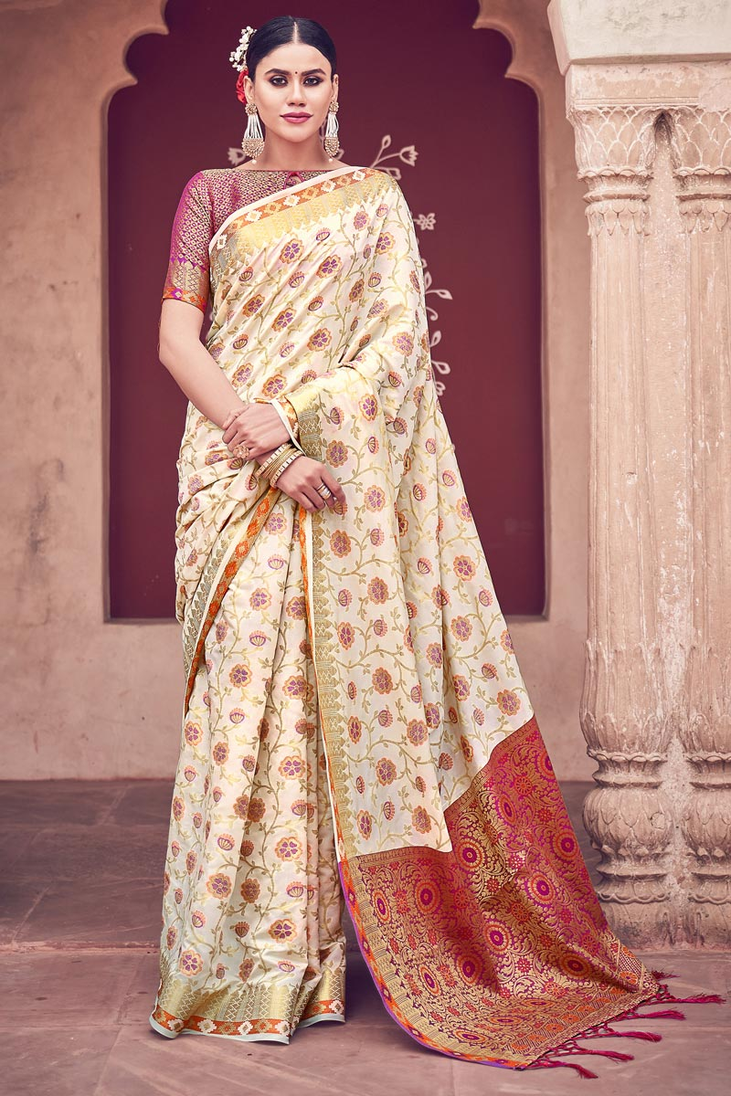 Beige Color Festive Wear Weaving Work Fancy Cotton Silk Fabric Saree