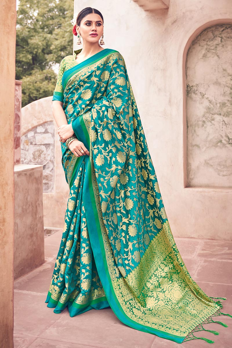 Festive Wear Cyan Color Cotton Silk Fabric Weaving Work Fancy Saree