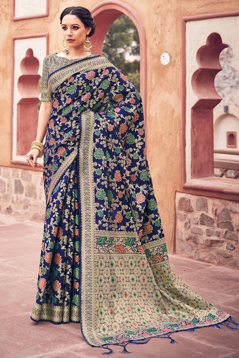 Festive Wear Cotton Silk Fabric Navy Blue Color Weaving Work Fancy Saree