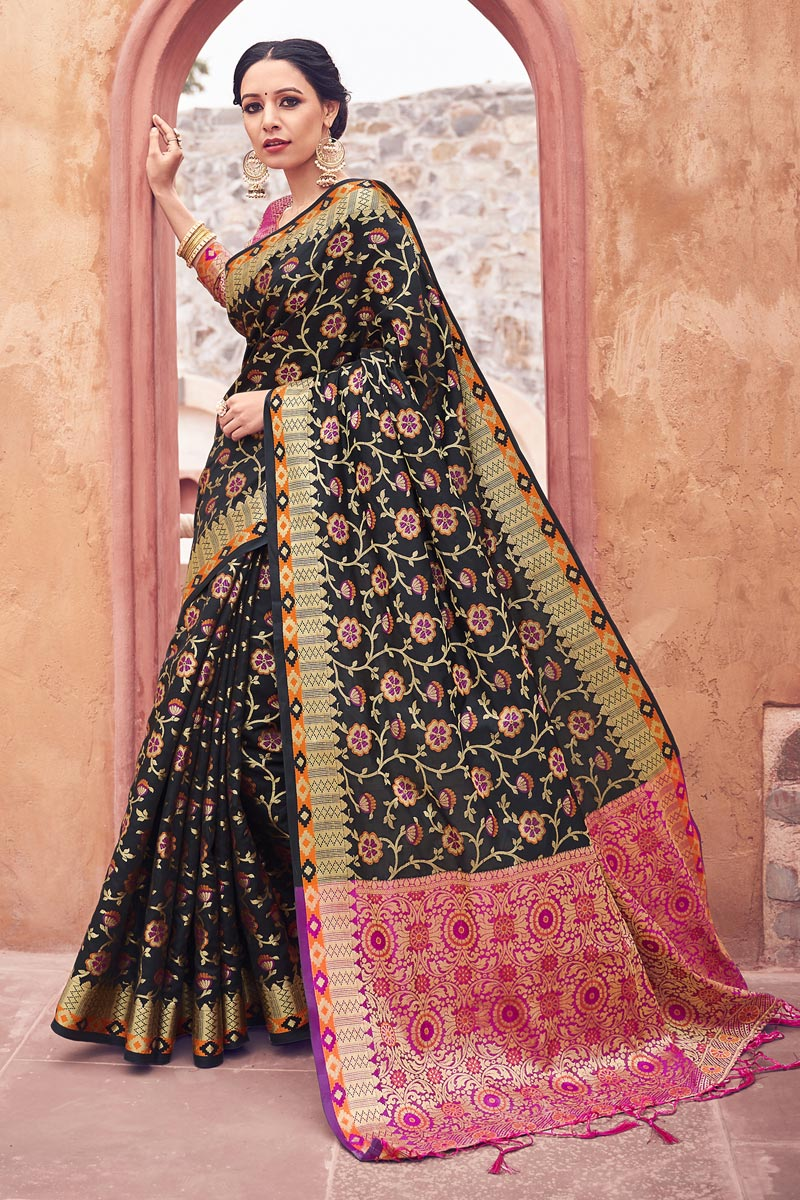 Cotton Silk Fabric Festive Wear Weaving Work Fancy Saree In Black Color