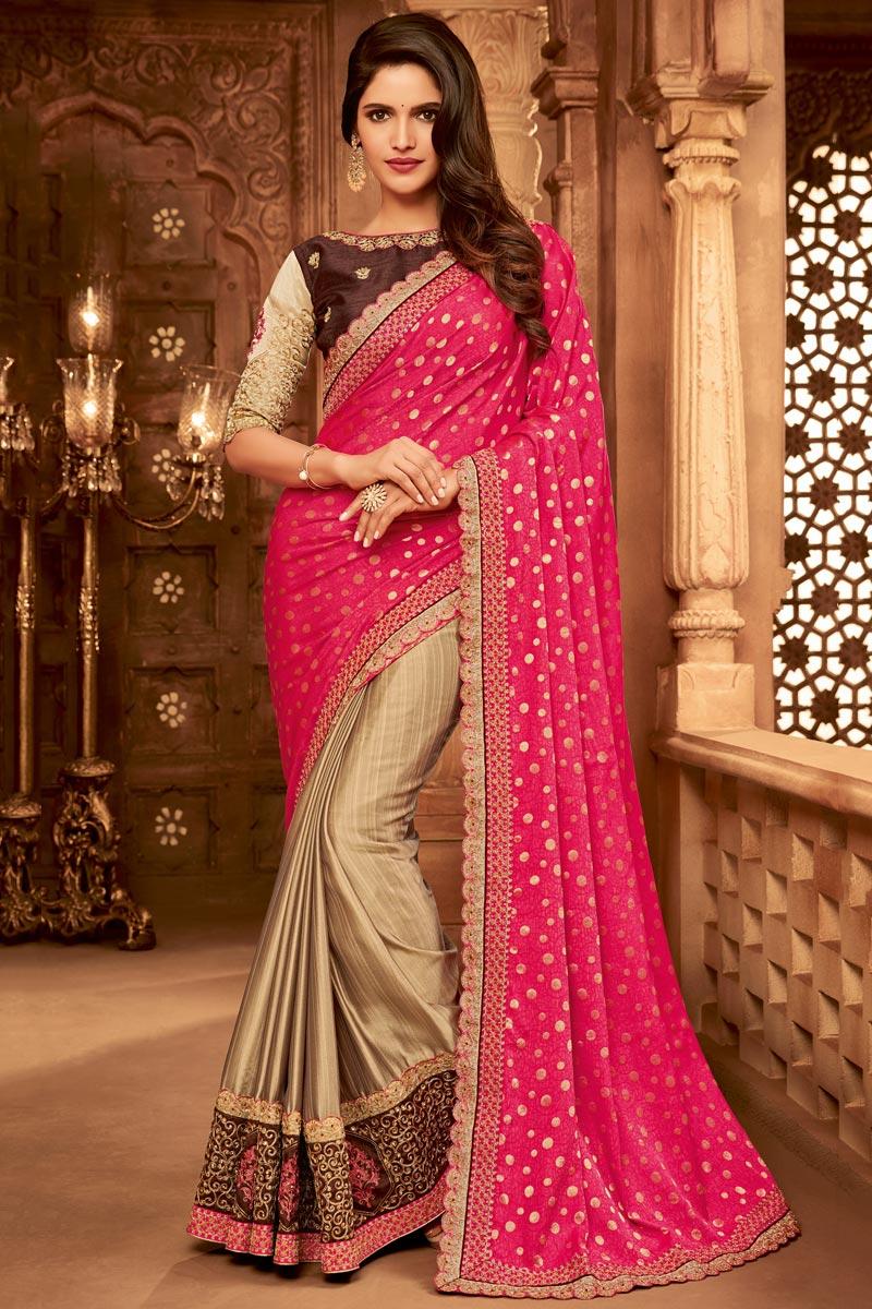 Pink And Beige Color Designer Ethnic Wear Art Silk Saree With Border Work