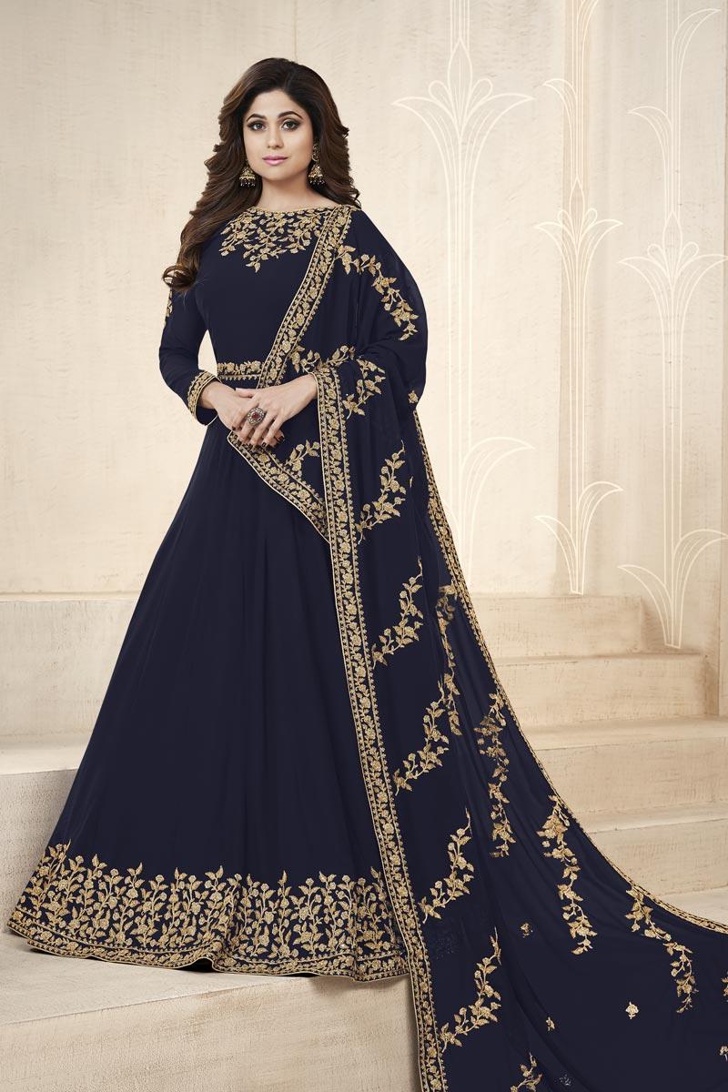 Shamita Shetty Embellished Party Wear Georgette Floor Length Anarkali Dress In Navy Blue