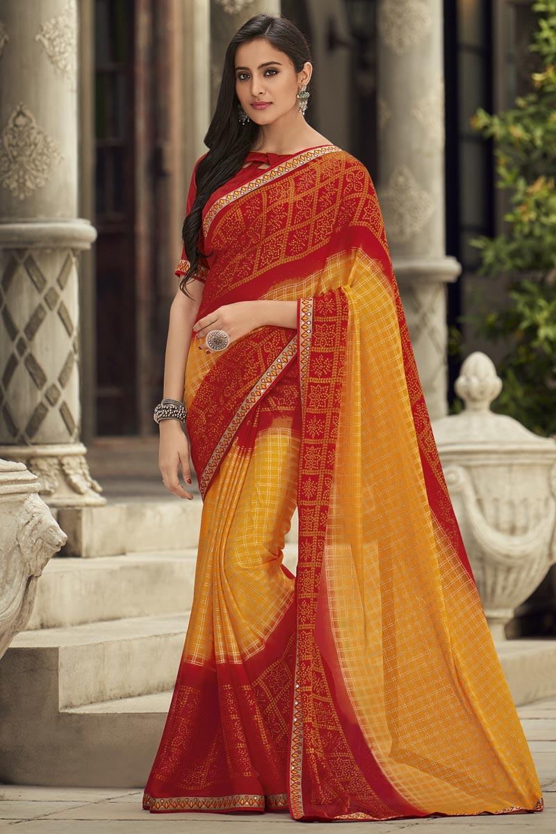 Chiffon Fabric Fancy Mustard Sangeet Wear Embroidered Saree