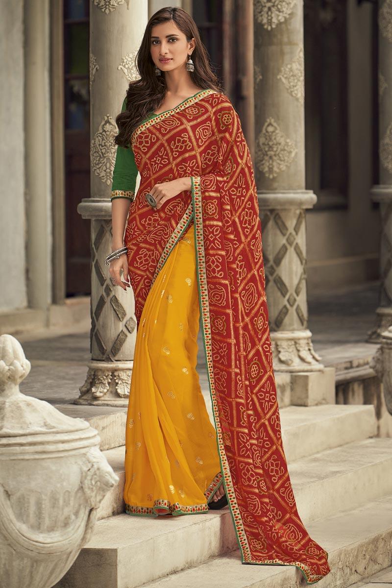 Chiffon Fabric Fancy Sangeet Wear Mustard Embroidered Saree