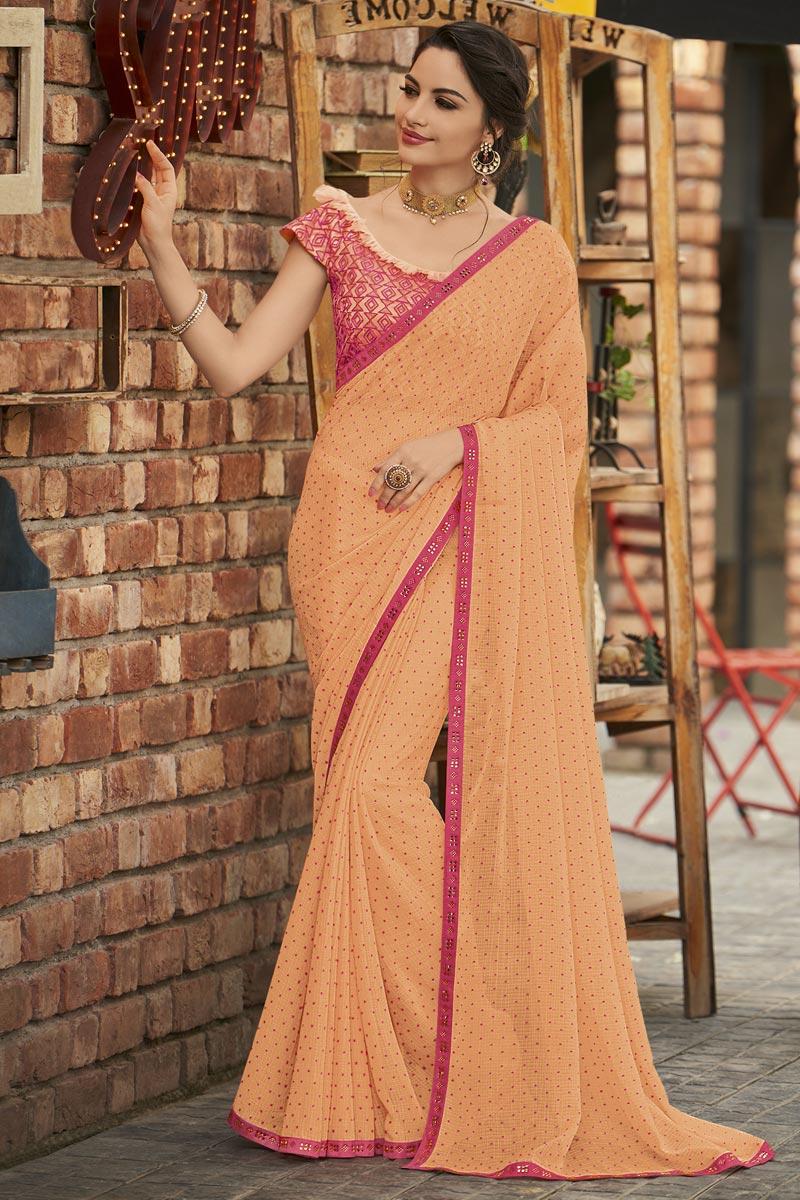 Peach Fancy Chiffon Fabric Sangeet Wear Embroidered Saree