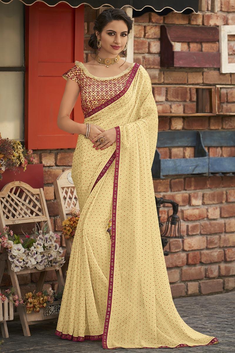 Fancy Chiffon Fabric Sangeet Wear Beige Embroidered Saree